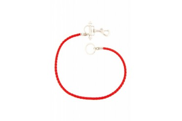 Givenchy Red Braided Leather Cord Keychain