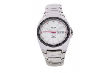 Omax DYB489 White Dial Alloy Strap Watch