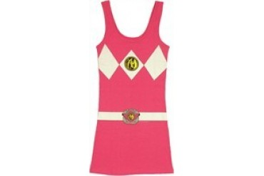 Mighty Morphin Power Rangers Pink Suit Costume Snug Fit Tank Top Dress