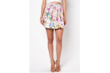 RIVER ISLAND Grey Floral Print Structured Mini Skirt