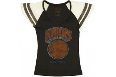 National Basketball Association New York Knicks Striped Sleeve Baby Doll Tee by MIGHTY FINE