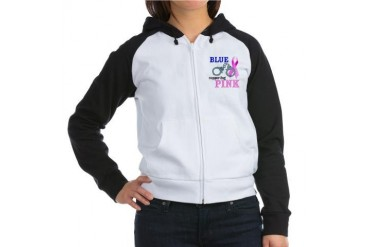 Blue supporting Pink Breast cancer awareness Women's Raglan Hoodie by CafePress
