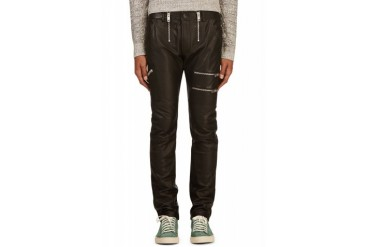 Diesel Black Grained Leather P zipps Trousers