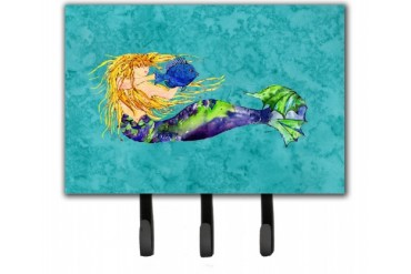 Blonde Mermaid on Teal Leash or Key Holder