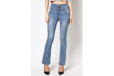 RED High Waist Boot Cut Jeans