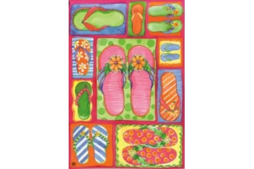 Flip Flops Tropical Beach Fun Garden Flag Banner