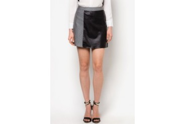 PU Panelled A-Line Skirt