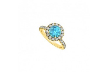 December Birthstone Created Blue Topaz and Cubic Zirconia Halo Engagement R