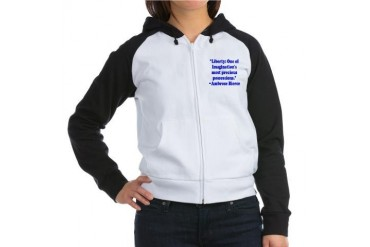 BierceLibertyBlue Quotes Women's Raglan Hoodie by CafePress