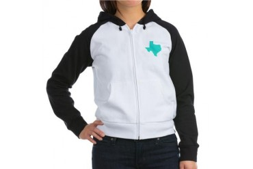 Texas Outline Turquoise Texas Women's Raglan Hoodie by CafePress