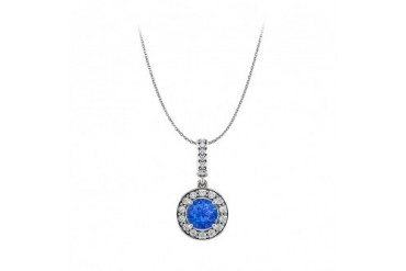 Sapphire CZ Halo Style Pendant with Free 18inch Chain