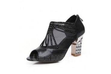 Real Leather Chunky Heel Peep Toe Ankle Boots With Beading shoes (087046766)