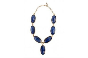 Kenneth Jay Lane Satin Gold/Lapis Odd Shape 1 Drop Necklace