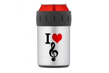 I Love Music Thermos Can Cooler Music Thermosreg; Can Cooler by CafePress
