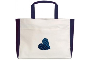 Navy Blue Striped Heart Baby Beach Tote by CafePress