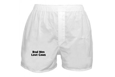 Real Men Love Cows Humor Boxer Shorts by CafePress