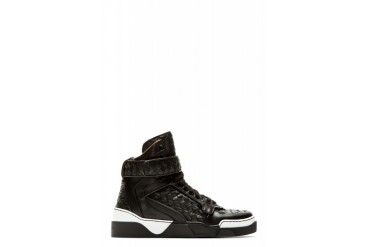 Givenchy Black Basketwoven Leather Tyson High top Sneakers