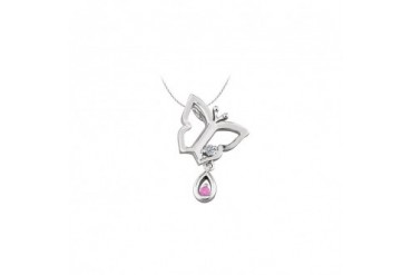 t Necklace with CZ and Created Pink Sapphire in Sterling Silver 0.05 CT TGW
