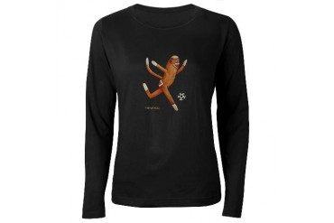 Soccer Monkey Funny Women's Long Sleeve Dark T-Shirt by CafePress
