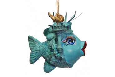 New York USA Miss Liberty Kissing Fish Christmas Holiday Ornament