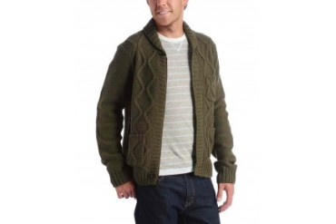 Penguin Cardigan Sweater With Hidden Full Zip Front Olive, XL