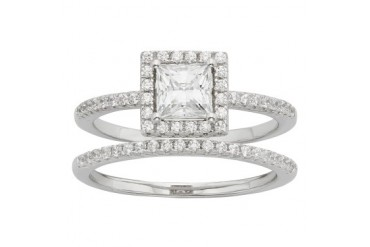 Sterling Silver Swarovski Elements Square Frame Ring Set
