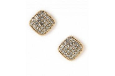 Pin & Tube Square Pave Post Earrings Gold