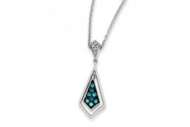 1 4 Ctw Blue amp White Diamond Geometric Necklace in Sterling Silver