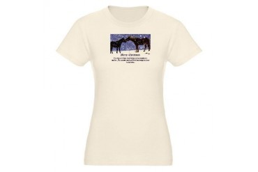Merry Christmas Snow Horses Organic Women's Fitted Horses Organic Women's Fitted T-Shirt by CafePress