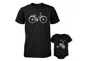 Bicycle Daddy Shirt And Tricycle Baby Onesie