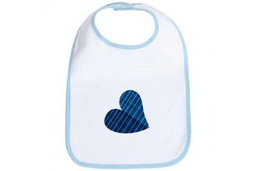 Navy Blue Striped Heart Baby Bib by CafePress