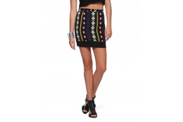 Lovemarks Zip Back Neon Tribal Mini Skirt Black, XS