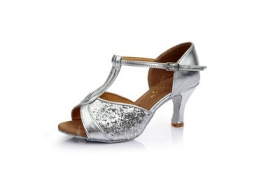 Women's Leatherette Heels Sandals Latin With T-Strap Dance Shoes (053053118)