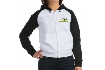 Green and Gold Swimming Swimming Women's Raglan Hoodie by CafePress