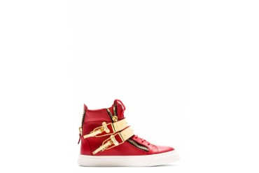 Giuseppe Zanotti Red London Flip clasp High top Sneakers