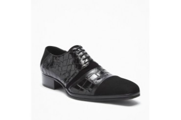 What A Croc Velvet and Croco-Embossed Leather Shoe