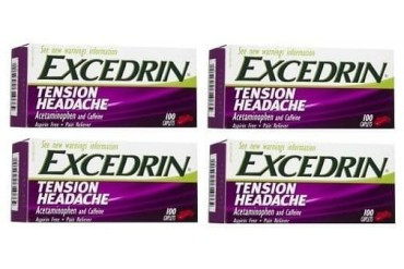 Excedrin Tension Headache Aspirin Free Pain Reliever Caplets 4 Bottle Pack