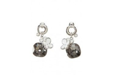 Black Queen Flower Stone Earrings