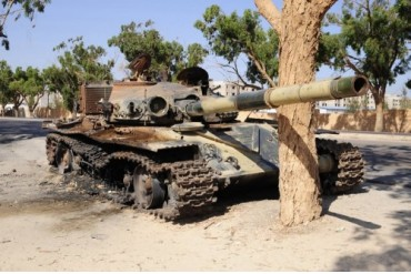 A T-72 tank destroyed by NATO forces just outside Benghazi, Libya.