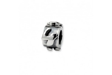 Number 4, Message Charm in Sterling Silver For 3mm Charm Bracelets