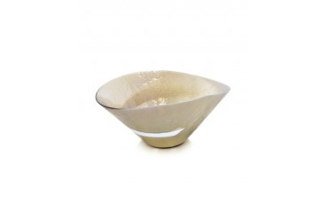 Tango - Ivory and Mother of Pearl Swirl Murano Glass Bowl