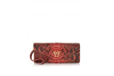 Red Python Leather Clutch w/Wristelet