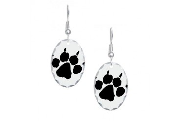 Wild Paw print Nature Earring Oval Charm by CafePress