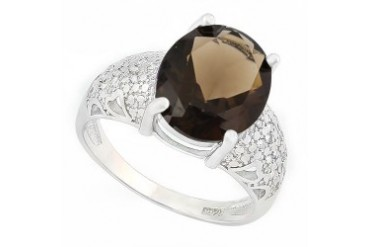 4 Carat Smokey Topaz amp Diamond 925 Sterling Silver Ring
