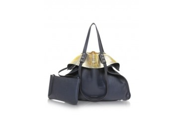 Montagne Blue and Gold Reversible Leather Tote