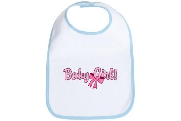 Baby Girl Bow Baby Bib by CafePress