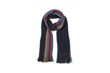 Navy Reversible Multi-Colour Striped Edge Scarf