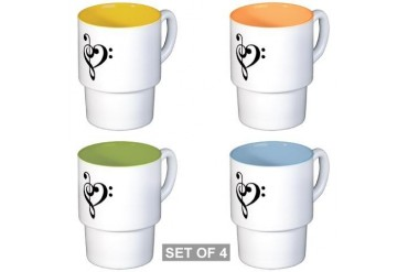 Stackable Mug Music Heart Set Music Stackable Mug Set 4 mugs by CafePress