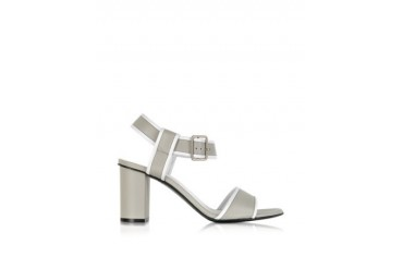 Pearl Gray and White Leather Sandal