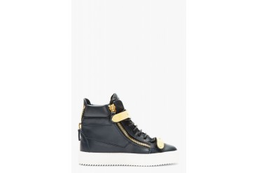 Giuseppe Zanotti Navy Leather Maylon High top Sneakers